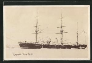 AK Russisches Kriegsschiff Rynda vor Anker