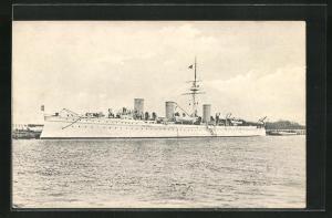 AK Russisches Kriegsschiff Novik vor Anker