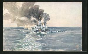 Künstler-AK Hans Bohrdt: Das I. Geschwader der Hochseeflotte