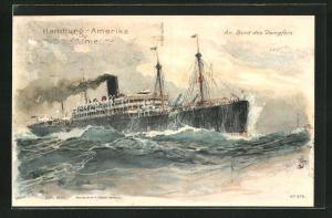 Künstler-AK Hans Bohrdt: Passagierschiff der Hamburg-Amerika-Linie auf stürmischer See