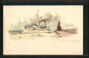 Künstler-AK Hans Bohrdt: S.M. Panzerschiff Siegfried vor Swinemünde
