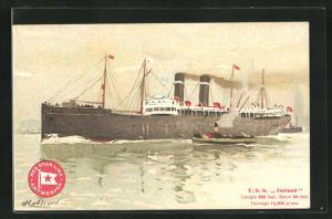 Künstler-AK Henri Cassiers: Passagierschiff T. S. S. Zeeland mit Schlepper, Red Star Line, Antwerpen