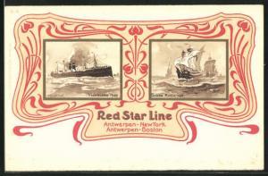 Künstler-AK Henri Cassiers: Passagierschiff Vaderland 1900, Santa Maria Segelschiff 1492, Red Star Line, Ornamente