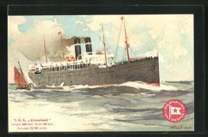 Künstler-AK Henri Cassiers: Passagierschiff T. S. S. Kroonland bei leichtem Wellengang, Segelboot, Red Star Line