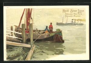 Künstler-AK Henri Cassiers: Dampfer der Red Star Line, Blick von Fischerboot mit Fischern
