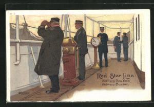 Künstler-AK Henri Cassiers: Brücke mit Kapitän auf Damper der Red Star Line