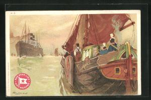 Künstler-AK Henri Cassiers: Blick von Heck eines Segelschiffes mit Passagieren auf Dampfer der Red Star Line