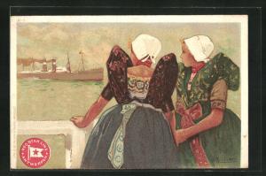 Künstler-AK Henri Cassiers: Frauen in Trachten mit Hauben blicken auf Dampfer der Red Star Line