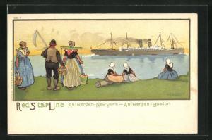 Künstler-AK Henri Cassiers: Frauen in holländischen Trachten blicken von Küste auf Dampfer der Red Star Line