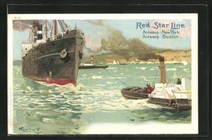 Künstler-AK Henri Cassiers: Dampfer der Red Star Line wird von Schlepper gezogen