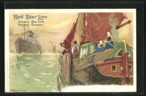 Künstler-AK Henri Cassiers: Blick auf Dampfer der Red Star Line, Segelschiff mit Passagieren am Heck