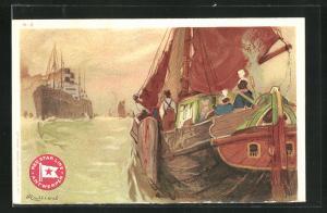 Künstler-AK Henri Cassiers: Segelschiff mit Passagieren blicken auf Dampfer der Red Star Line