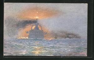 Künstler-AK Hans Bohrdt: Kriegsschiff bei voller Fahrt auf See bei dramatischen Licht