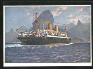 Künstler-AK Hans Bohrdt: Rio de Janeiro, Doppelschrauben Dampfer Passagierschiff Sierra Ventana fährt in Hafen ein