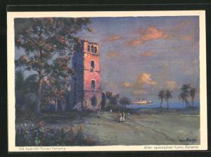 Künstler-AK Hans Bohrdt: Panama, Alter spanischer Turm, Blick von Küste auf Dampfer der Hapag