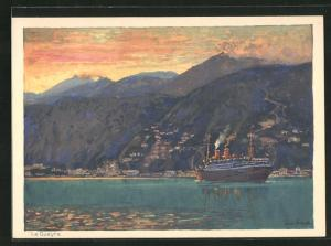 Künstler-AK Hans Bohrdt: La Guayra, Passagierschiff der Hapag unter Dampf vor Küste mit dramatischen Licht