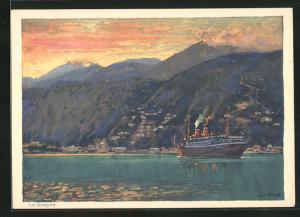 Künstler-AK Hans Bohrdt: La Guayra, Passagierschiff der Hapag fährt ein