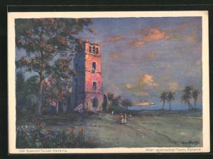 Künstler-AK Hans Bohrdt: Panama, Alter spanischer Turm, Blick auf Passagierschiff der Hapag