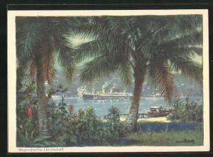Künstler-AK Hans Bohrdt: Passagierschiff der Hapag vor Küste einer westindischen Landschaft
