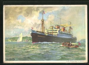 Künstler-AK Hans Bohrdt: M. S. Milwaukee im Solent, Blick auf Küste, Passagierschiff