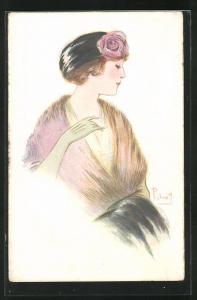 Künstler-AK sign. Pichnett: Junge Dame im Pelz mit schönem Hut