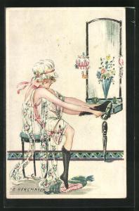 Künstler-AK sign. E. Bergmayer: Frau im Nachthemd kleidet sich mit Seidenstrümpfen