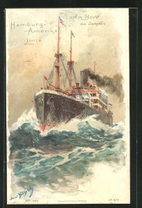 Künstler-AK Hans Bohrdt: Passagierschiff der Hamburg-Amerika-Linie auf dem Meer