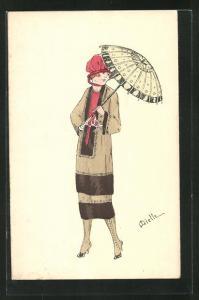 Künstler-AK sign. Miette: Dame mit roten Hut, Sonnenschirm und Gamaschen Stiefel