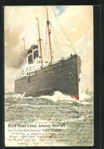 Künstler-AK Henri Cassiers: Twin Screw Mailstreamer Vaderland, Red Star Line, Antwerp-New York unter Dampf auf See