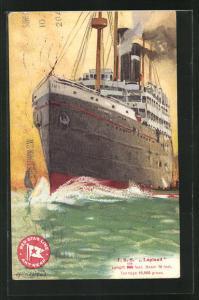 Künstler-AK Henri Cassiers: Passagierschiff T. S. S. Lapland, Red Star Line, Bug pflügt durch grüne See