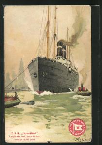 Künstler-AK Henri Cassiers: Passagierschiff T. S. S. Kroonland wird von Schleppern in Hafen gezogen