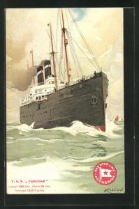 Künstler-AK Henri Cassiers: Passagierschiff T. S. S. Vaderland in Fahrt auf Meer