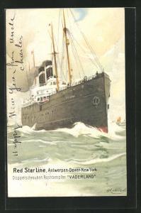 Künstler-AK Henri Cassiers: Doppelschrauben Postdampfer Vaderland bei Wellengang auf See, Red Star Line