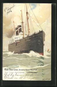 Künstler-AK Henri Cassiers: Twin Screw Mailsteamer Vaderland, Red Star Line, Antwerp-Dover-New York