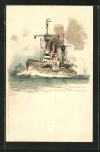 Künstler-AK Hans Bohrdt: Kriegsschiff S. M. Panzerschiff Brandenburg mit Volldampf Kiel verlassend