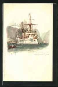 Künstler-AK Hans Bohrdt: Kriegsschiff Kreuzer Kaiserin Augusta, Norwegischer Fjord