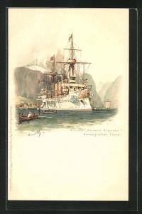 Künstler-AK Hans Bohrdt: Kriegsschiff Kreuzer Kaiserin Augusta, Norwegischer Fjord, Ruderboote