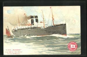 Künstler-AK Henri Cassiers: Passagierschiff T. S. S. Kroonland unter Dampf auf See, Segelschiff, Red Star Line