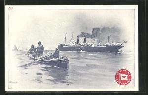 Künstler-AK Henri Cassiers: Red Star Line Antwerpen, Ruderboot und Dampfer