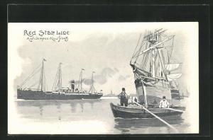 Künstler-AK Henri Cassiers: Red Star Line, Antwerpen - New York, Dampfer, Segelschiff und Ruderboot