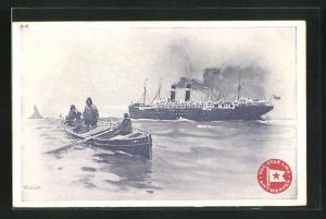 Künstler-AK Henri Cassiers: Red Star Line Antwerpen, Lotsenboot und Passagierschiff