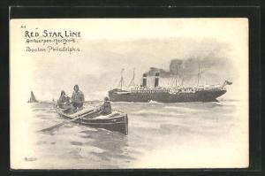 Künstler-AK Henri Cassiers: Red Star Line, Antwerpen-New York & Boston-Philadelphia, Lotsenboot und Passagierschiff
