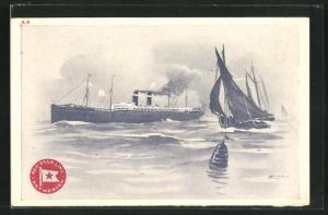 Künstler-AK Henri Cassiers: Red Star Line Antwerpen, Passagierschiff und Segler