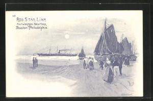 Künstler-AK Henri Cassiers: Red Star Line, Antwerpen-New York & Boston-Philadelphia, auslaufender Dampfer
