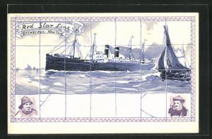 Künstler-AK Henri Cassiers: Red Star Line, Antwerpen-New York, Fliesen mit Dampfermotiv