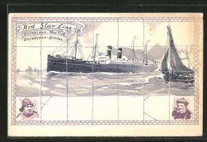 Künstler-AK Henri Cassiers: Red Star Line, Antwerpen-New York & Boston-Philadelphia, Fliesen mit Dampfermotiv