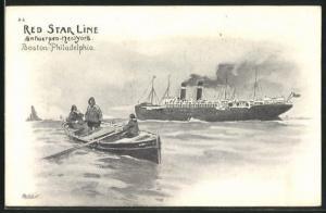 Künstler-AK Henri Cassiers: Red Star Line, Antwerpen-New York & Boston-Philadelphia, Lotsen und Passagierschiff