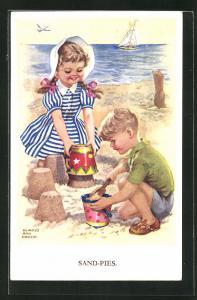 Künstler-AK sign. Gladys Ann Couch: Kinder bauen Sandburgen am Strand