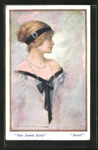 Künstler-AK sign. Cecil W. Quinneli: Schöne Frau mit Perlenkette