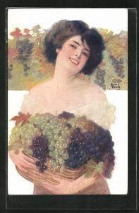 Künstler-AK sign. F. Vecchi: Lachende Frau mit vollem Traubenkorb